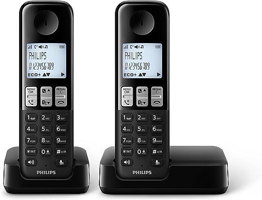 Philips - Teléfono inalámbrico (escritorio, 50/60, AAA, polifónico, digital) negro: Amazon.es: Electrónica