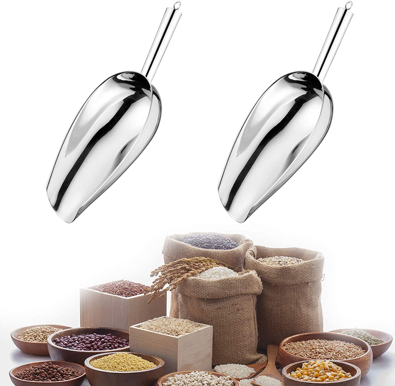 3 Ounce Ice Scoop Set of 2, Stainless Steel Pet Food Scoop Ice Scooper for Freezer, Multifunctional Small Scoops, Metal Utility Scoops for Canisters, Baking, Kitchen Pantry and Dishwasher Safe