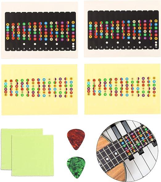 Matogle 4pcs Pegatinas de Notas Guitarra 2pcs Púas de Guitarra ...