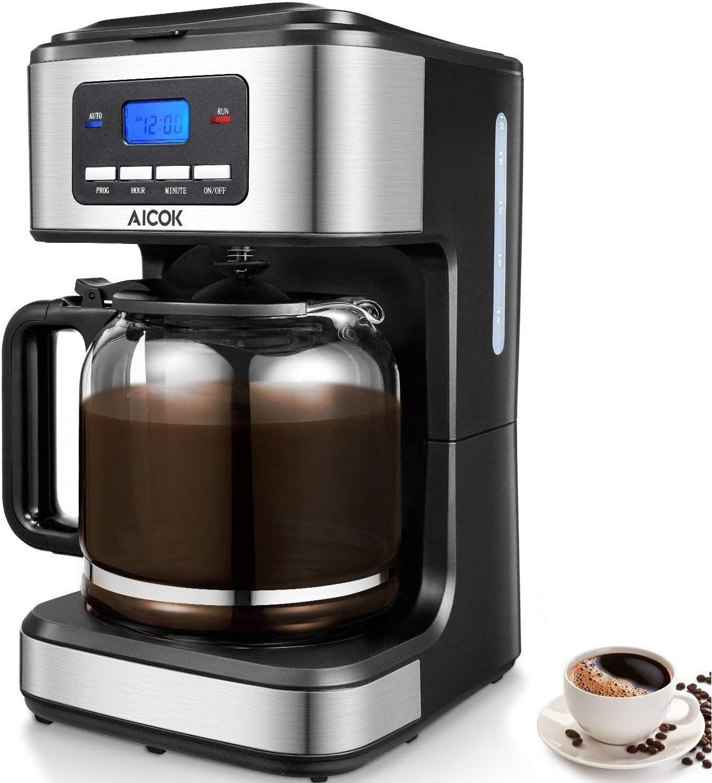 Amazon.com: Aicok Cafetera de 12 tazas programable goteo ...