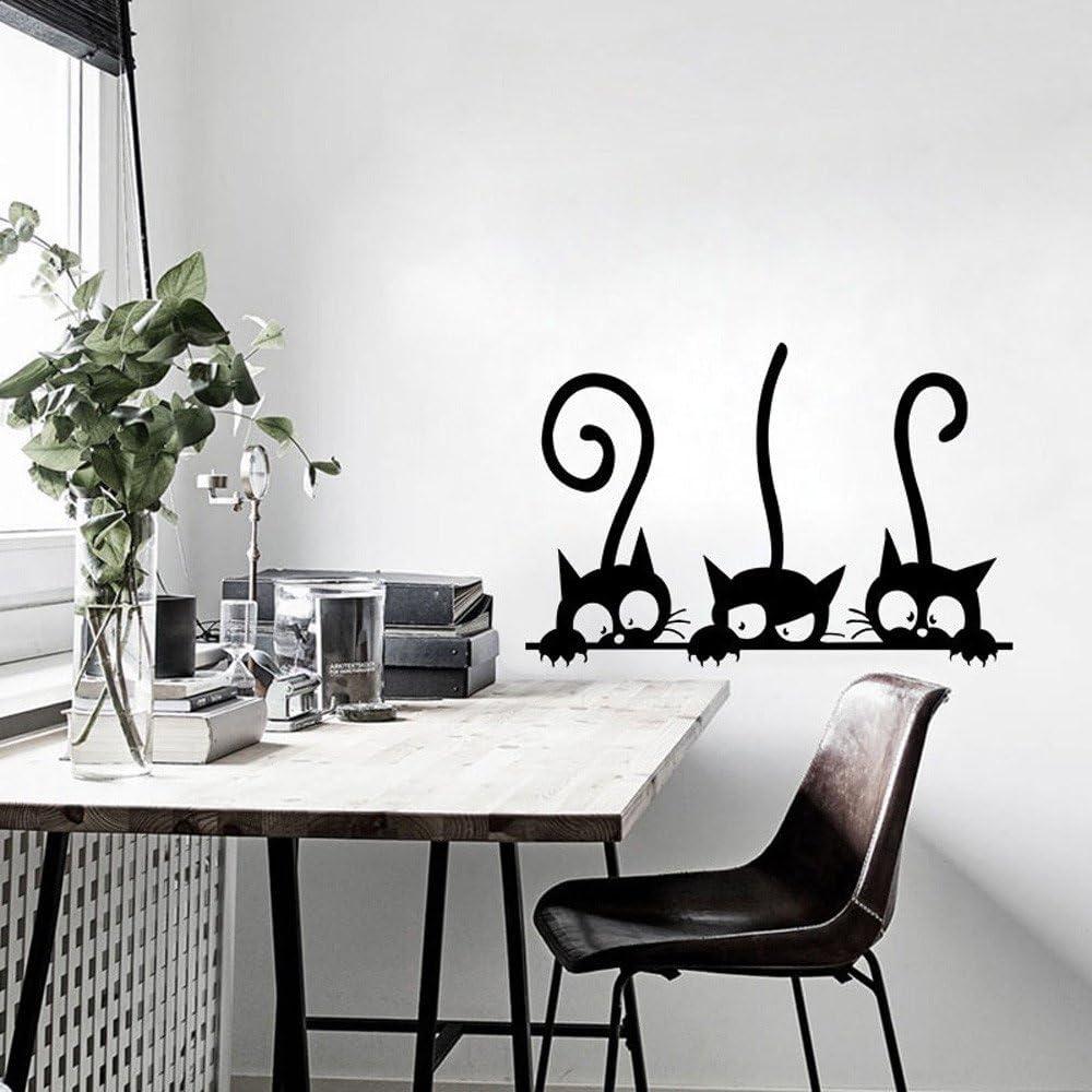 30 x 20 cm, Schwarz Sannysis Cartoon Katzen Wandaufkleber Kinderzimmer Hausdekoration Fensterbild Wandtattoo Abnehmbare Fensterdeko Statisch Haftende PVC Fenster Aufkleber