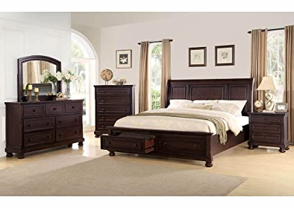 Antique Espresso Queen Size Bedroom Set With Foot Board Storage   Free  White Glove Delivery