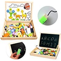 UJIE® Wooden Magnet Puzzle Double Sided White Board & Black Board for Writing & Drawing