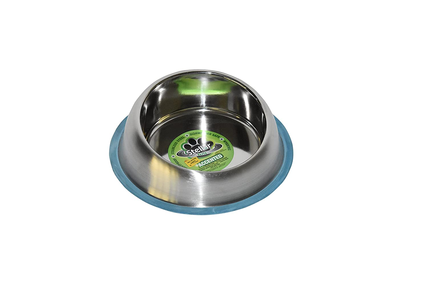 """Stellar Bowls Accented """"Raised"""" Non Tip Anti Skid Dish with 100% Silicon Bonded Rubber Ring, Small"""