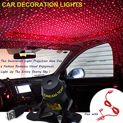 img buy Romantic Auto Roof Star Lights,Car Roof Lights,Romantic Lighting Environment Multiple Modes Lights for Car/Home/Party,with Free 3-in-1 Cable (Red-Starry Sky - Always Bright Vision)