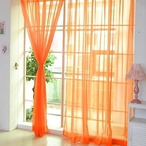Acamifashion 2 pz Pure color sheer tenda porta finestra pannelli ...