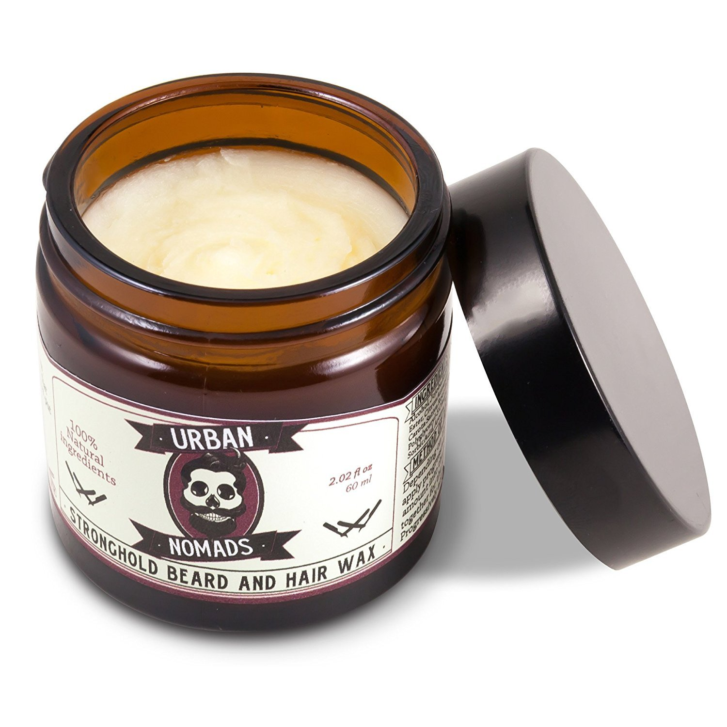 Best Beard Balm & Wax   Strong Hold   Leave in Conditioner & Styling Balm for All Beard Styles, Mustache, Hair   Carotenes, Sesame Seed Oils, Bergamot and Citric Fruit Oils   Made in Barcelona   2 oz