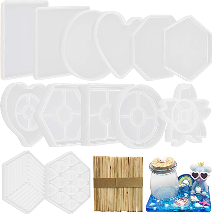 COASTER SET of 6  Mother of Pearl Laser cut Stick on Acrylic Coaster Base with Clear Lamination Glossy  Coaster  Tea Coaster