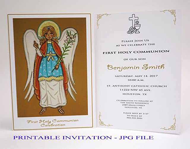 Amazon Com Boy First Communion Invitation Boy Saint Archangel