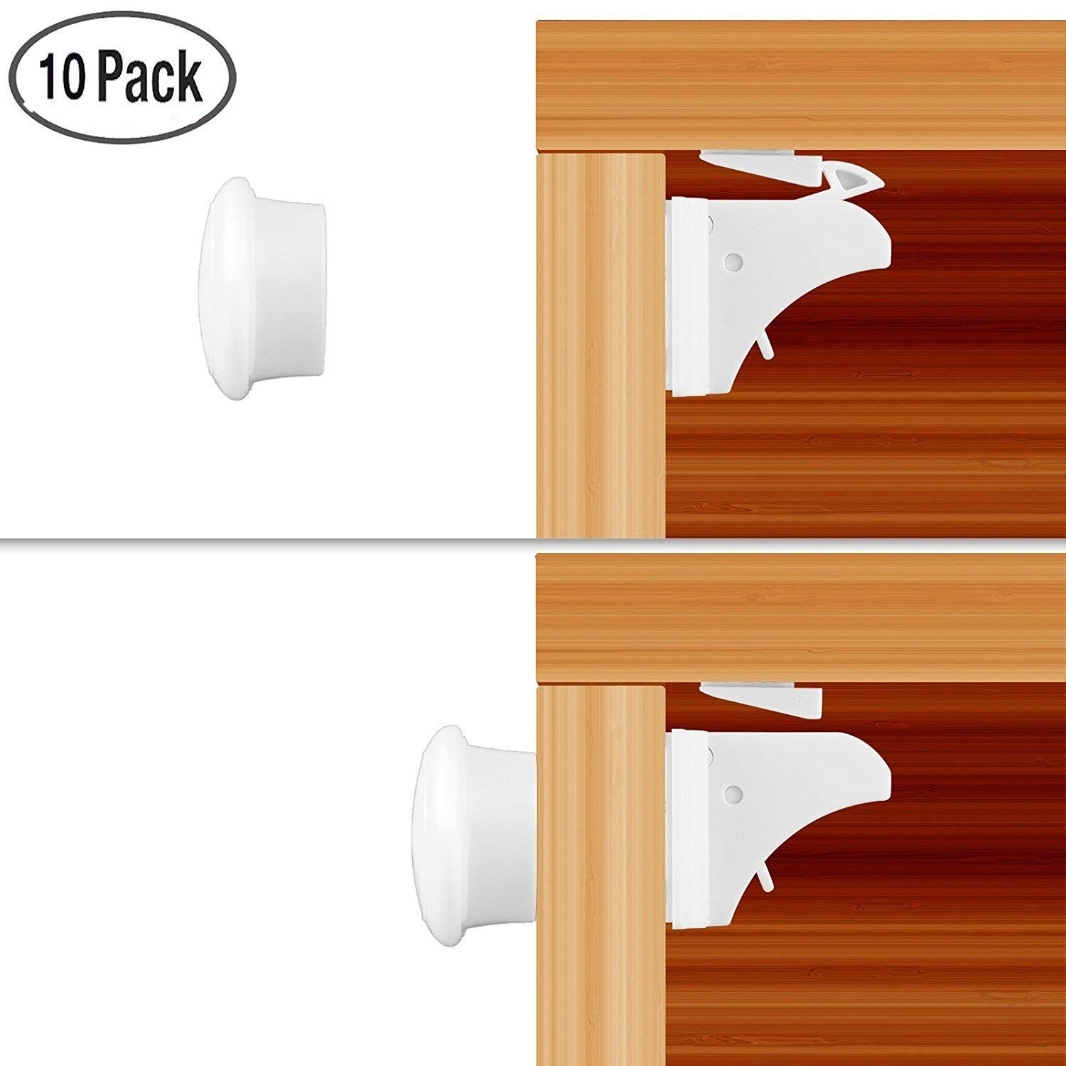 ONEVER Child Safety Cupboard Locks Set 10 Locks+2 Keys Magnetic locks No Drilling Magnetic Adhesive Lock for Drawers, Cabinet (White)