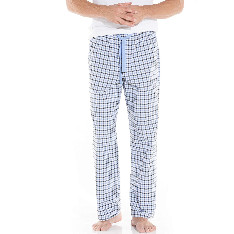 Savile Row Mens White Navy Blue Oxford Check Lounge Pants