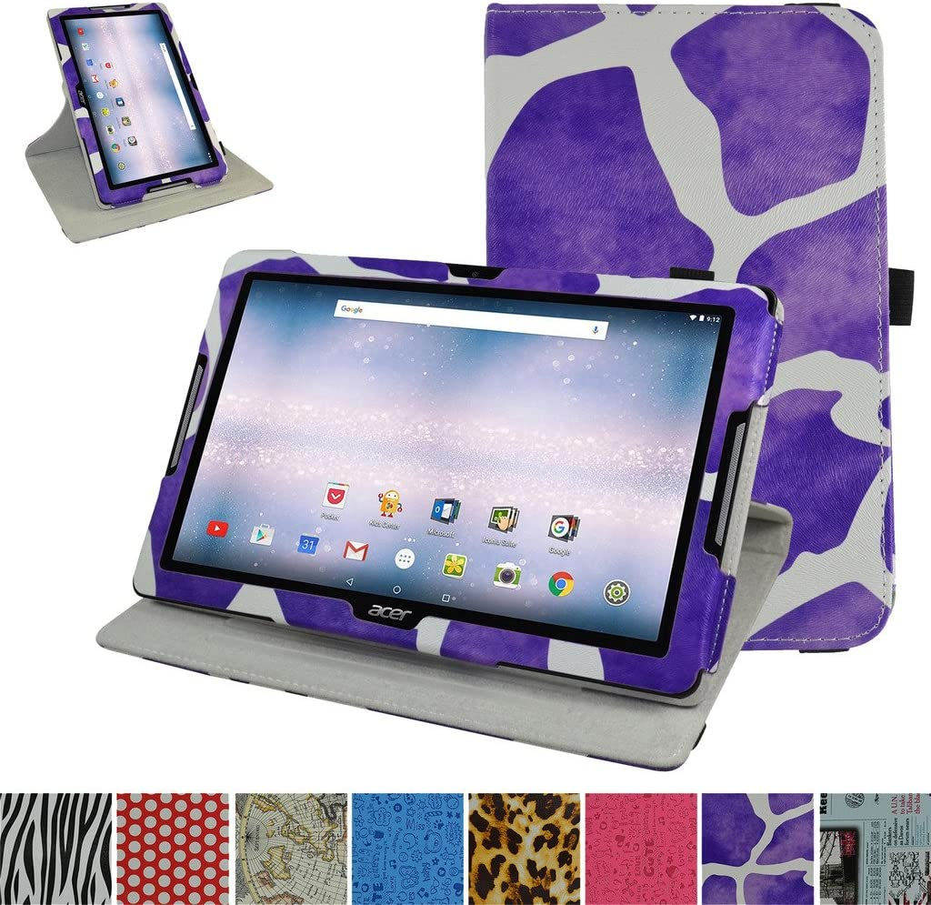 """Acer Iconia One 10 B3-A30 Rotating Case,Mama Mouth 360 Degree Rotary Stand with Cute Cover for 10.1"""" Acer Iconia One 10 B3-A30 Android Tablet, Giraffe Purple"""