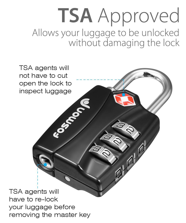 Paquete de 4 Indicador de Alerta Abierta Aprobado por TSA Cerradura de Equipaje de combinaci/ón de 3 d/ígitos - Negro Fosmon