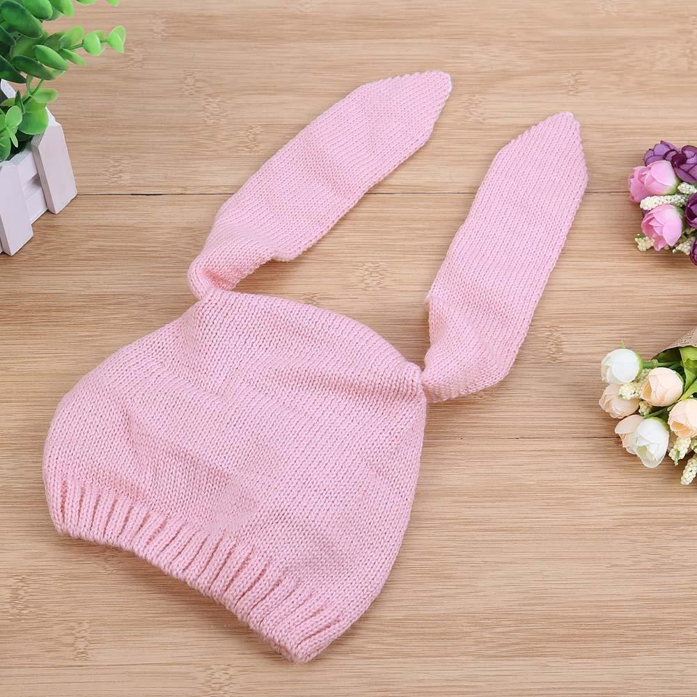 Everpert Infant Long Rabbit Ears Knitted Hat Baby Autumn Elastic Unisex Pink Cap