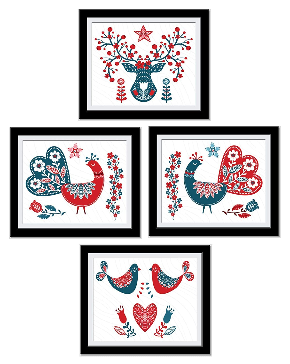 Peacock Wall Art - Beautiful and Decorative Bedroom Decor - House Warming Gift - Peacock gifts - Peacock wall Decor - Red Blue Festive Design - UnFramed…