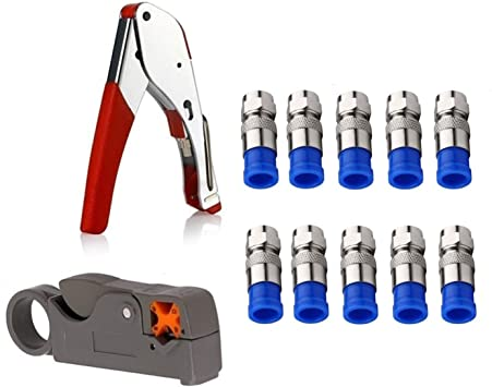 20 F Connector Coaxial Tool Set Cable Wire Stripper Crimping Plier Clamp