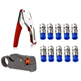 Coax Cable Crimper Kit Tool for RG6 RG59 Coaxial Compression Tool Fitting Wire Stripper with Gaobige 10 PCS F Compression connectors - Grey