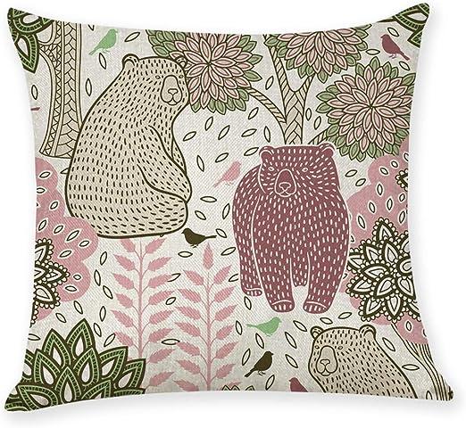 Funda de cojín 2 piezas, estampado de flores y pájaros pintado a mano algodón y lino