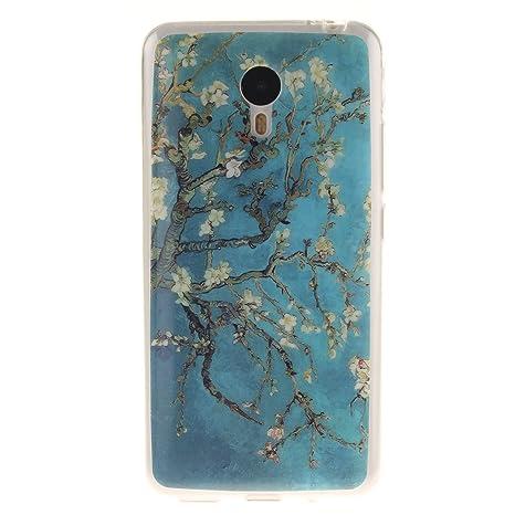 Guran® Silicona Funda Carcasa para Meizu M2 Note Smartphone Bumper TPU case Cover-Árbol de flores