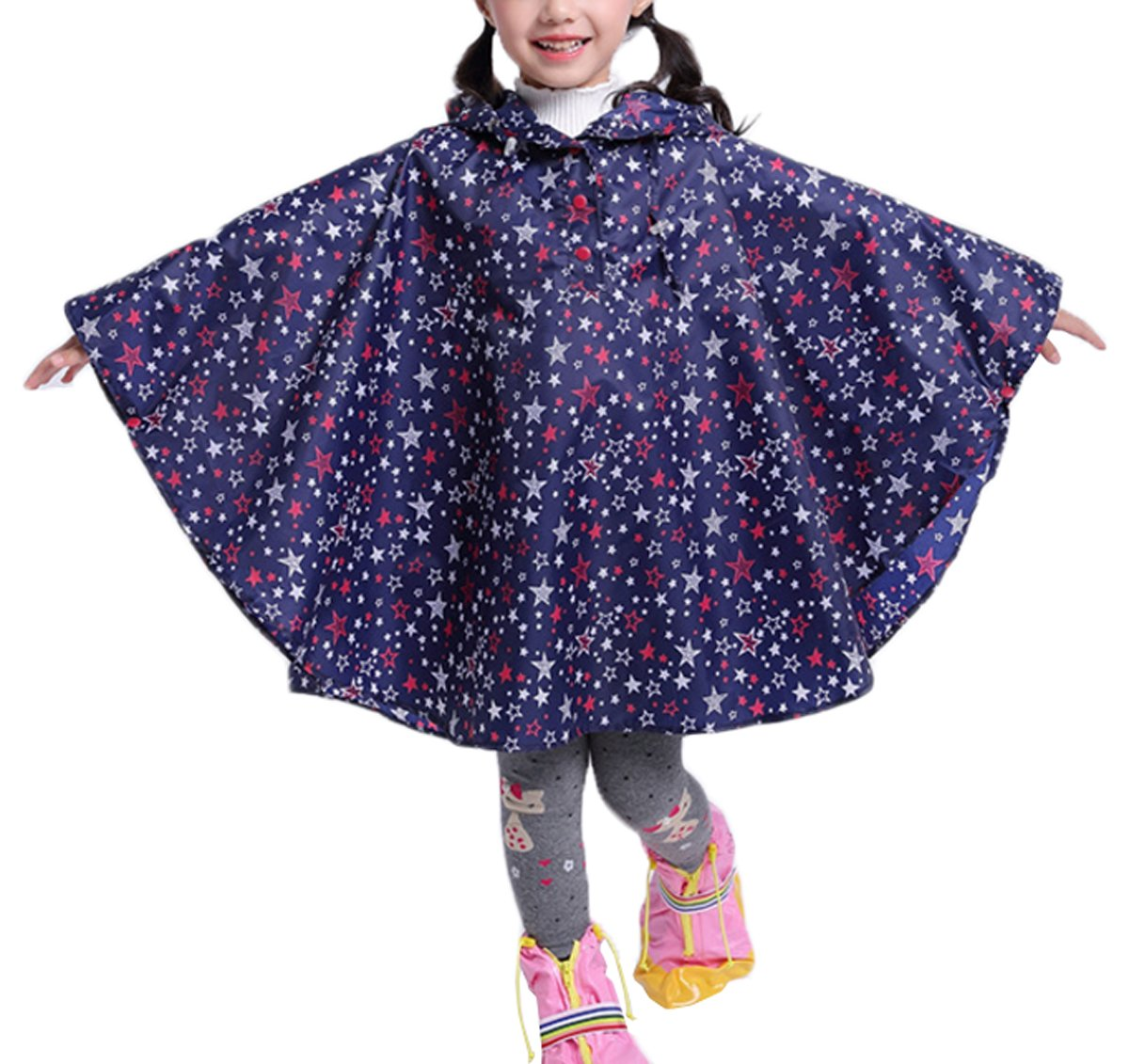 Comfysail Kids Star Hooded Rain Poncho Coat Waterproof Raincoat with Easy Carry Pouch Boys Girls