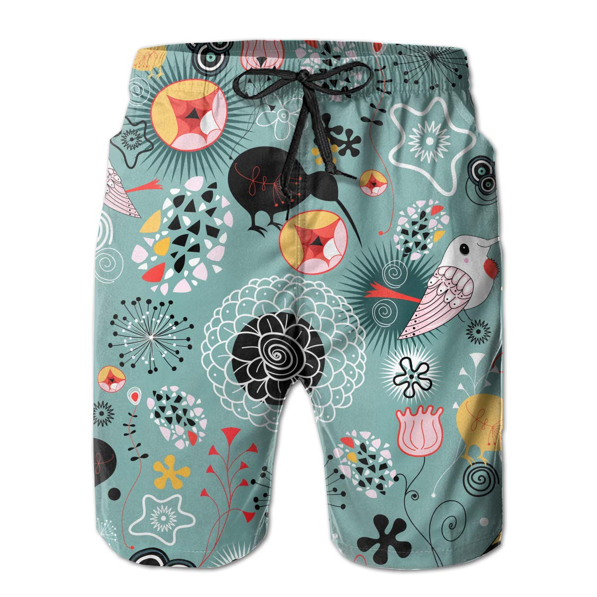 Floral with Birds Mens Quick Dry Swim Trunks Beach Board Short Mesh Lining Summer Sports Running Shorts