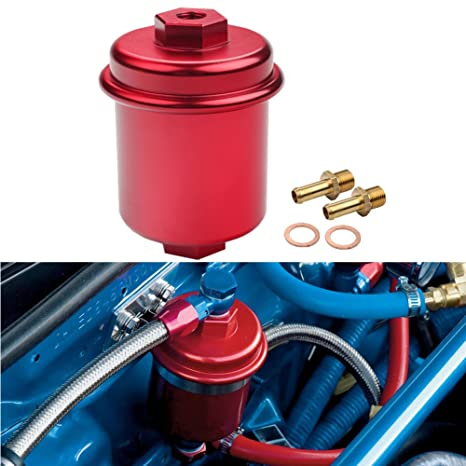 amazon com: dewhel jdm racing sport high flow volume fuel filter honda  civic accord acura integra red: automotive