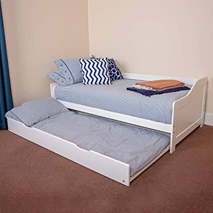 competitive price ca5a2 9d3c4 Wido WHITE WOODEN 3FT SINGLE BED WITH PULL OUT UNDER BED MATTRESS UNDER  TRUNDLE