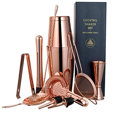 11-piece Copper Cocktail Shaker Bar Set: 2 Weighted Boston Shakers, Cocktail Strainer Set, Double Jigger, Cocktail Muddler and Spoon, Ice Tong and 2 Liquor Pourers