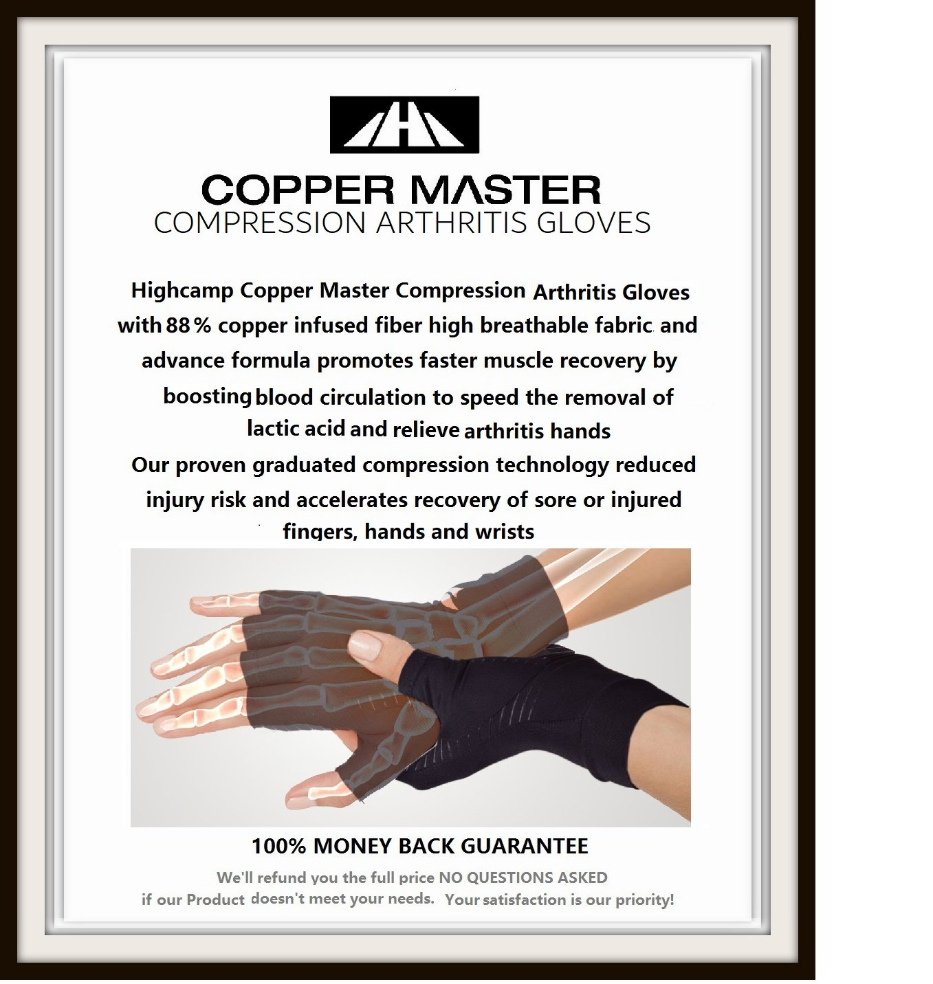 Arthritis Gloves Women- Copper Gloves For Men- Compression Gloves Recovery & Relieve For Arthritis, RSI, Carpal Tunnel, Swollen Hands, Tendonitis, Everyday Support & More- Fingerless Gloves/ Black/ L by Highcamp (Image #7)
