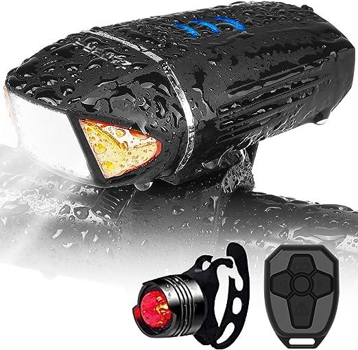 TTK AUTO Luz Bicicleta Luces USB Recargable con 4 Modos Linterna ...