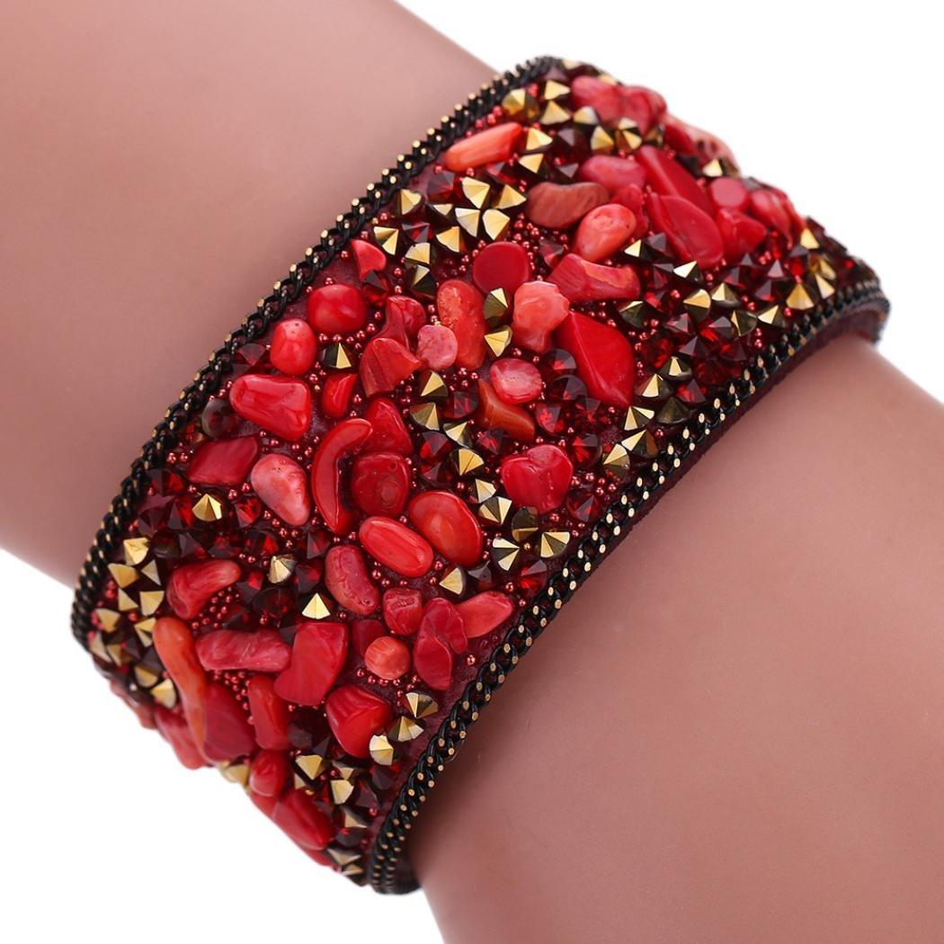 DENER Elastic Stretchy Crystal Florid Stone Bridal Leather Bangle Bracelet Jewerly