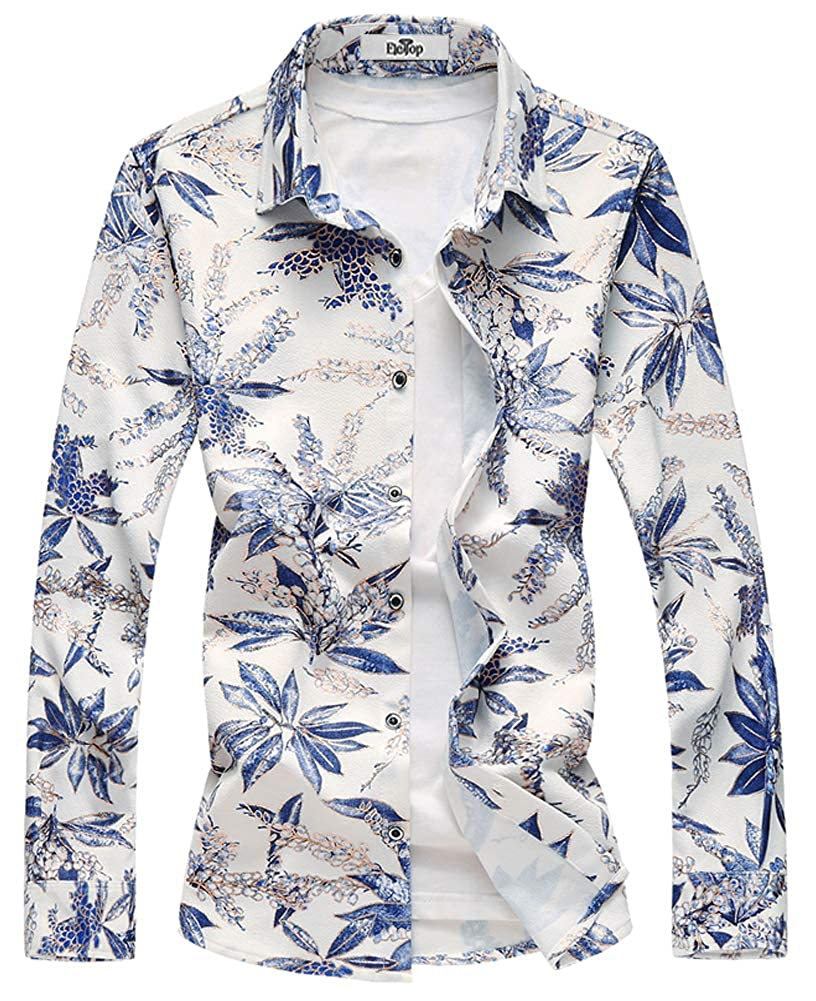Mens Shirt Long Sleeve Slim Fit Flower Shirt Cotton Holiday Casual Shirts Party Floral Shirt New
