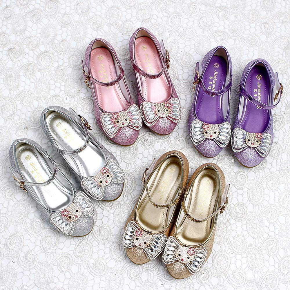 Exclusive Shoebox Girls Princess Cosplay Performance Shoes Sequins Wedding Dress Shoes Low Heeled