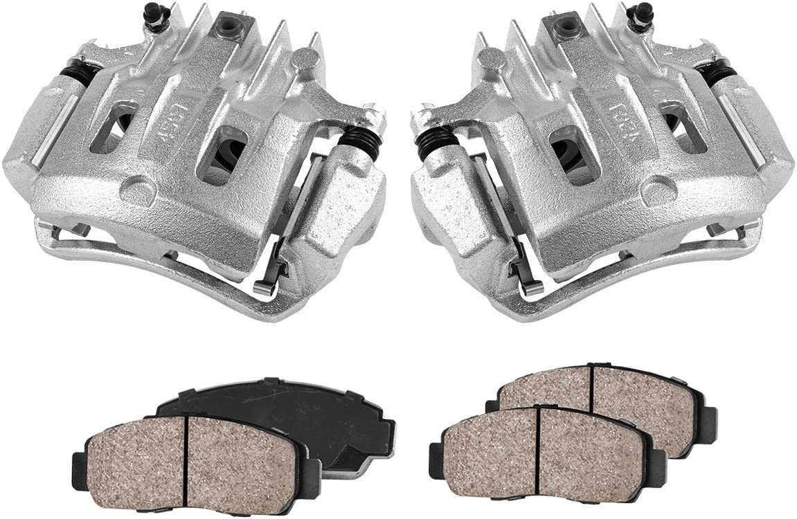 CCK11471 [2] REAR Premium Loaded OE Remanufactured Caliper Assembly Set + Quiet Low Dust Ceramic Brake Pads