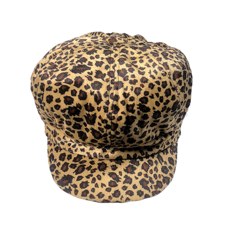 Leopard Cap Newspaper Women Cotton Newsboy Autumn Khaki Octagonal Hats Duckbill Baker Boy,Khaki Cap,M (56-58 cm)