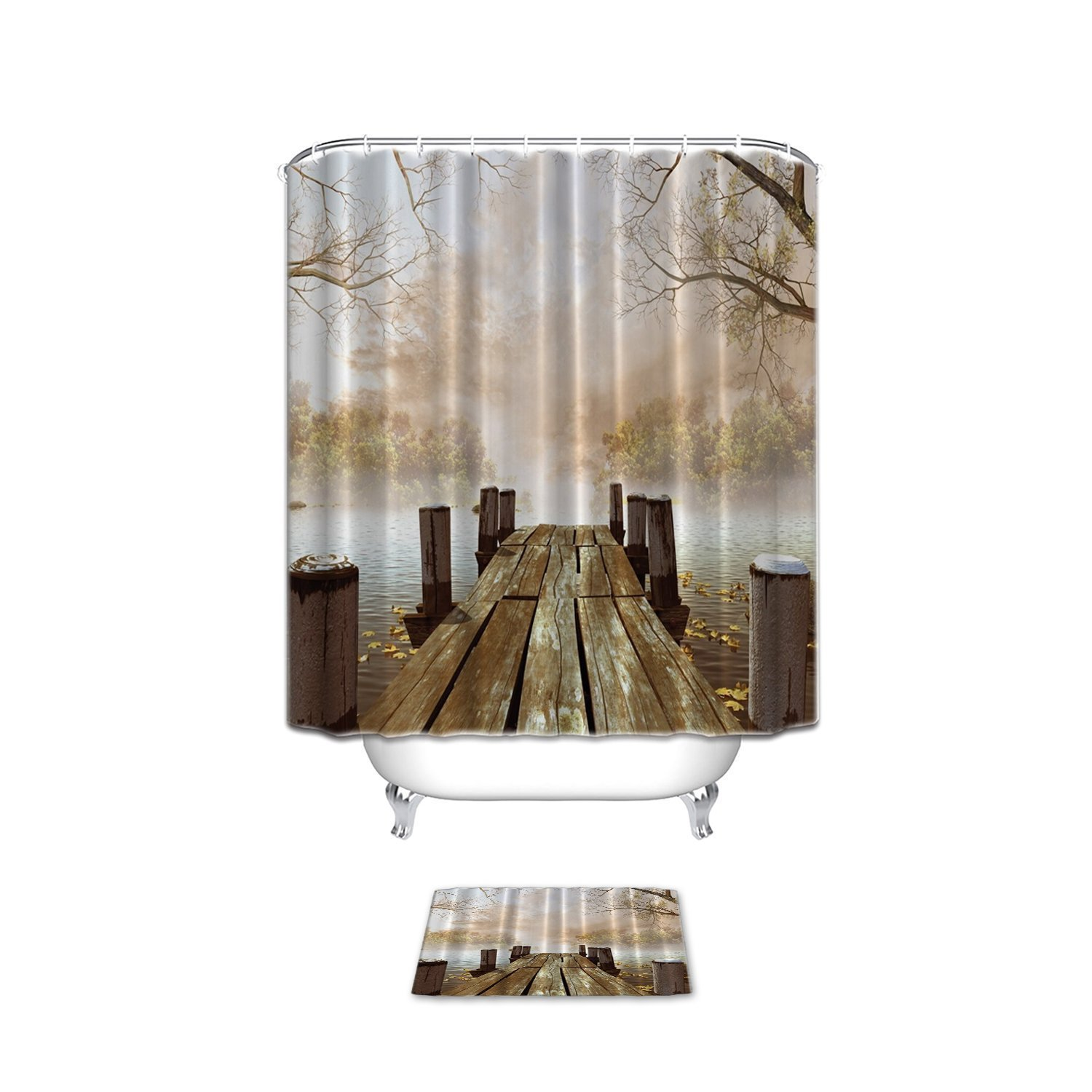 Vandarllin Fall Wooden Bridge Shower Curtain Set with Bathroom Mat Rugs Collection, Foggy Lake Rustic Country Home Art Paintings,Tan Brown