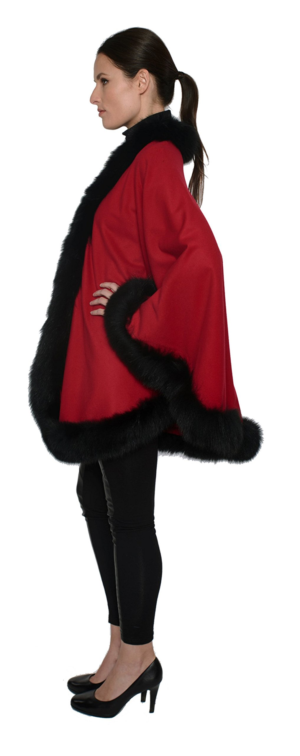 Cashmere Pashmina Group: Cashmere Cape with genuine Fox Fur Trim all around (Lipstick Red/ Black) by Cashmere Pashmina Group (Image #2)