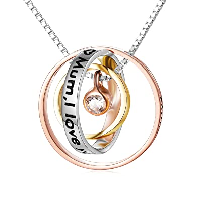 ELBONTEK Necklace Presents For Mum Gifts Birthday Silver