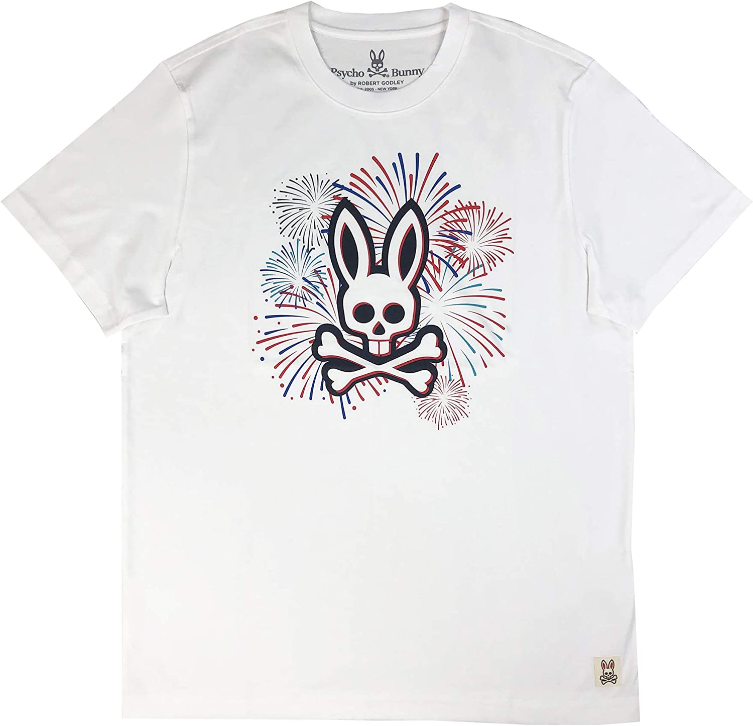 Psycho Bunny Men's Pima Cotton Short Sleeve Graphic Tee with Fireworks Prints