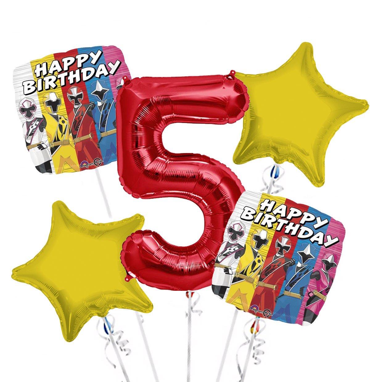 Power Rangers Balloon Bouquet 5th Birthday 5 pcs Party Supplies Viva Party SG/_B0731CN2KX/_US