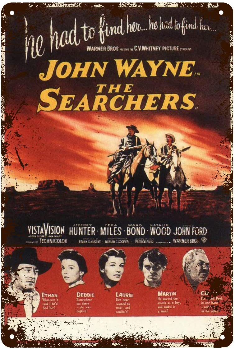 John Wayne The Searchers Movie Metal Tin Sign Poster Wall Plaque,Vintage Metal Pub Club Cafe bar Home Wall Art Decoration Poster Retro 8x12 inches