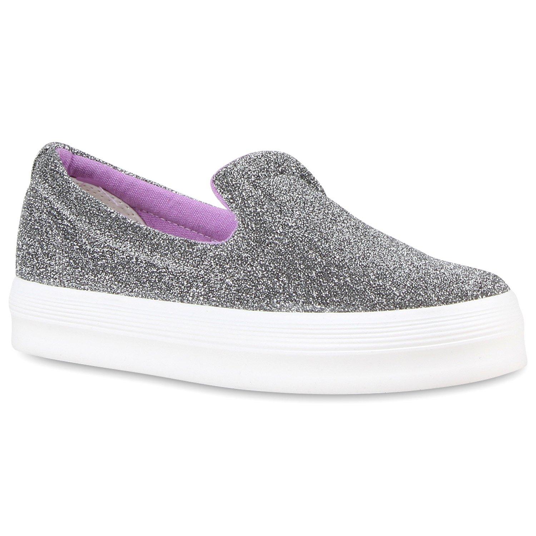 Stiefelparadies Damen Sneaker Slip Ons mit Plateau Glitzer Flandell  41 EU|Grau Glitzer