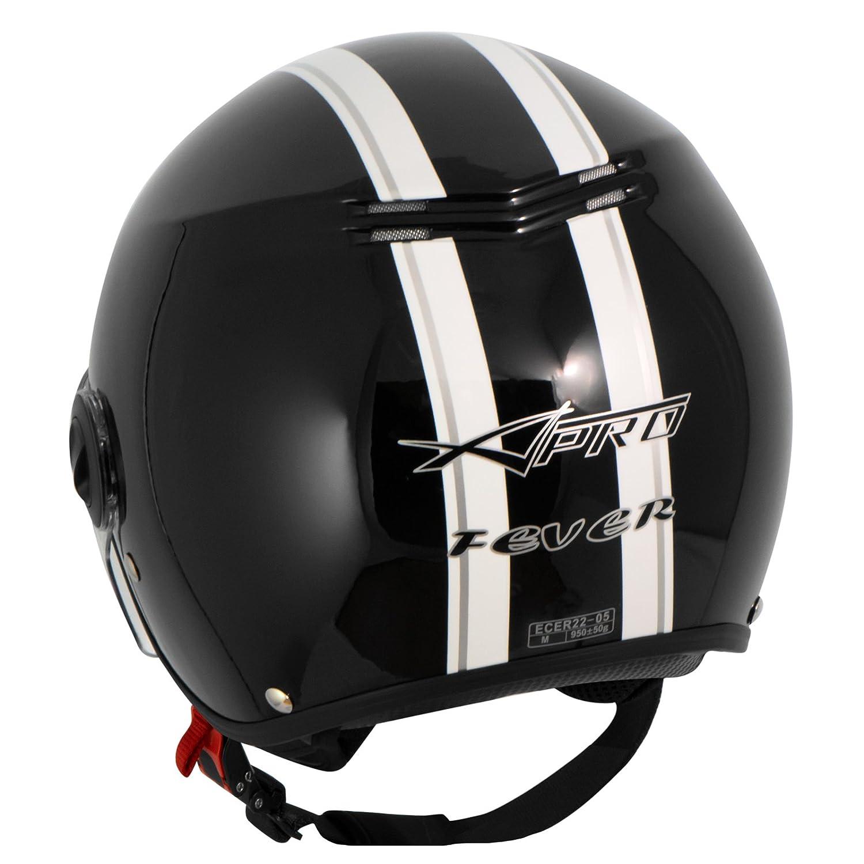 A-Pro Motorradhelm Motorrad Roller Offenes Jet Helm Viser ECE 22 05 Grau XL