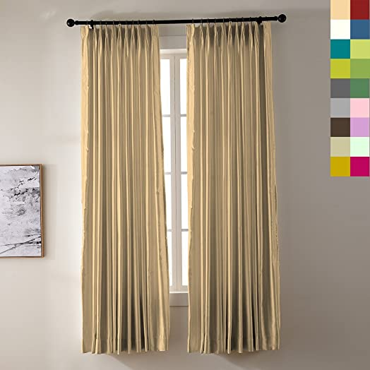 ChadMade Pinch Pleated 120 W x 102 L 1 Panel Luxury Heavyweight Faux Silk White Blackout Lined Window Draperies Curtains for Traverse Rod and Track, Khaki