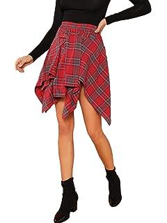 19c0b68f05 Nite closet Plaid Skirts for Women Knee Length Red Irish Skirt (Red ...