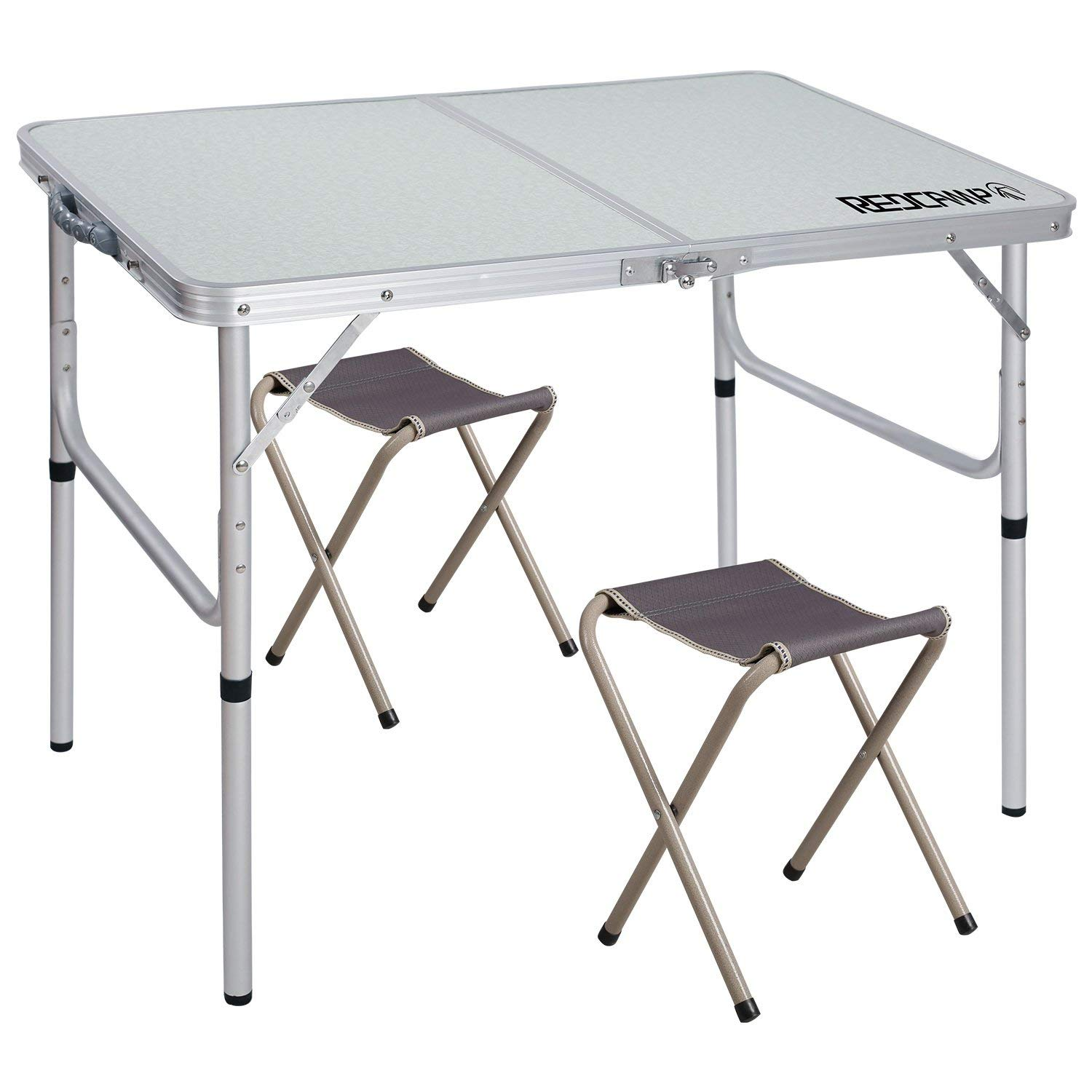 REDCAMP Folding Camping Table Adjustable, Portable Picnic Table with 2 Chairs, Aluminum White 35.4''x23.6''x15''/27.6'' by REDCAMP
