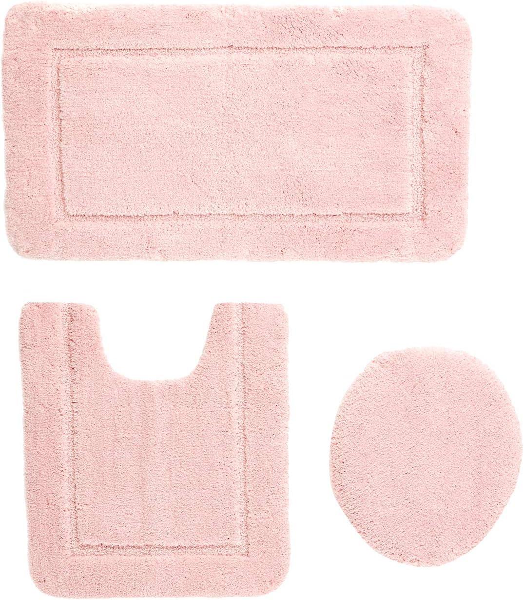 AmazonBasics 3 Piece Sculpted Bath Mat Set - Pink