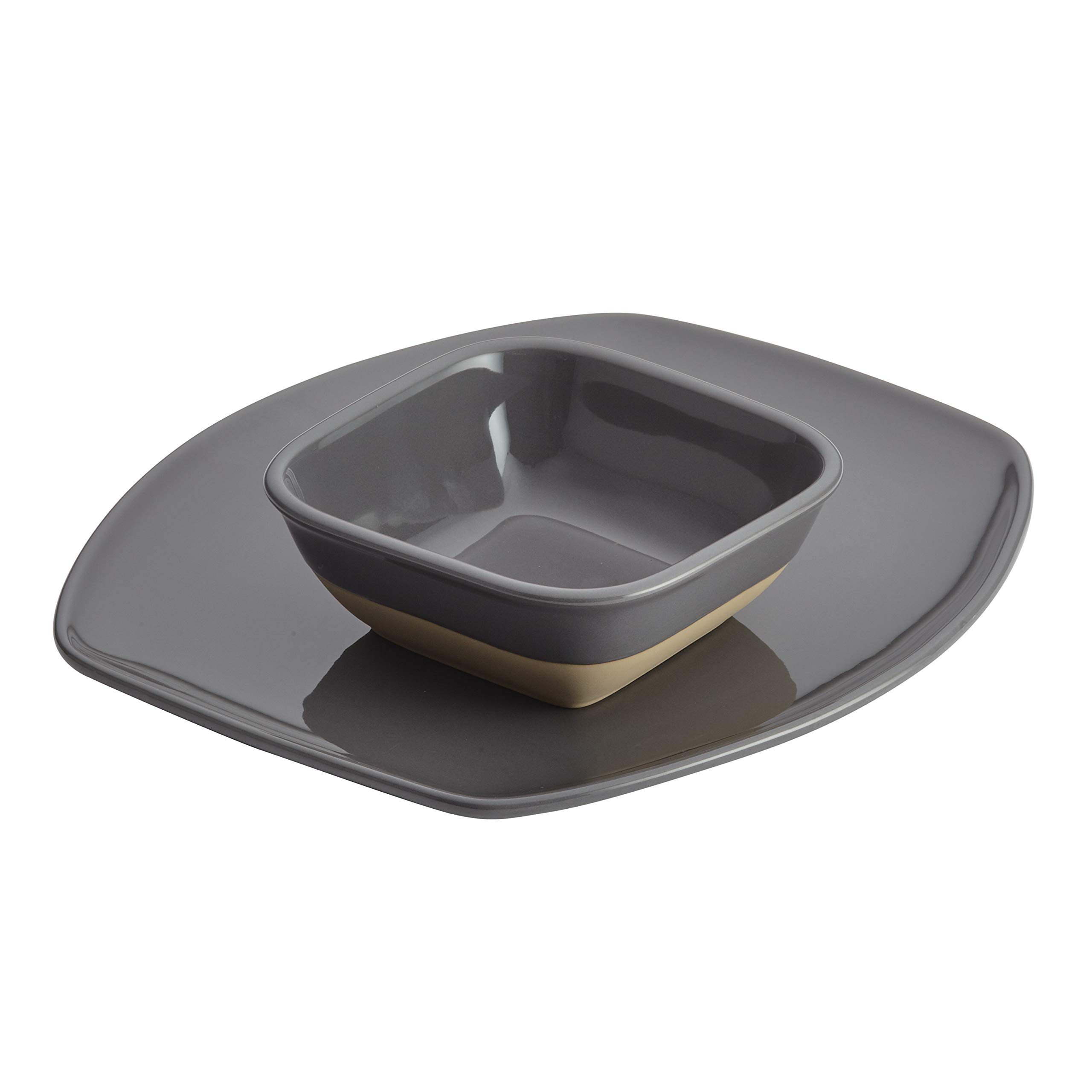 Rachael Ray 47535 Cityscapes Chip and Dip Set, 2 Piece, Dark Sea Salt Gray