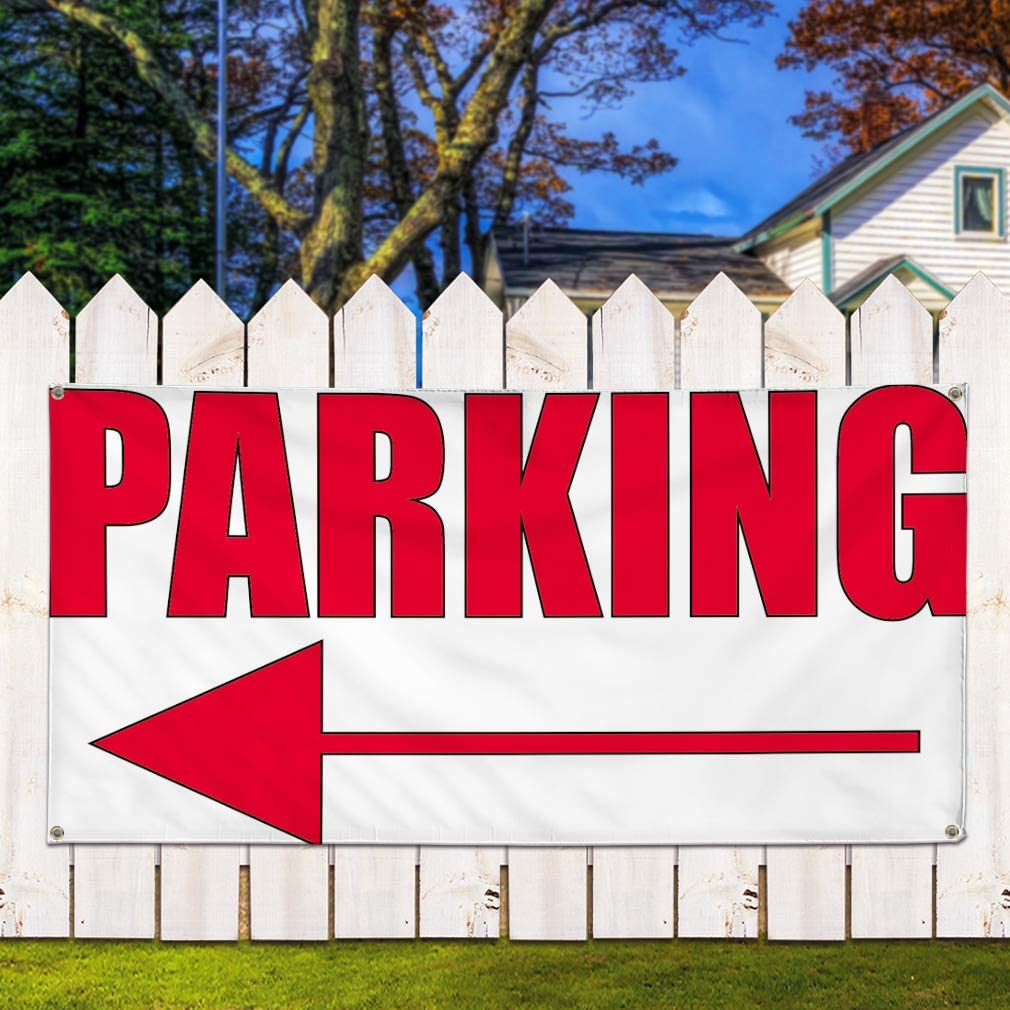 Vinyl Banner Sign Parking #2 Style A Business Parking Marketing Advertising Red One Banner Multiple Sizes Available 8 Grommets 48inx96in
