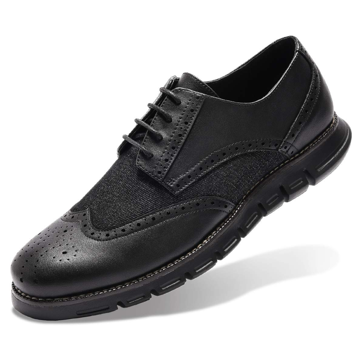 Men's Oxford Sneaker Dress Shoes-Stylish Wingtip Brogue Oxfords Casual Shoes Work Gifts Black 9.5